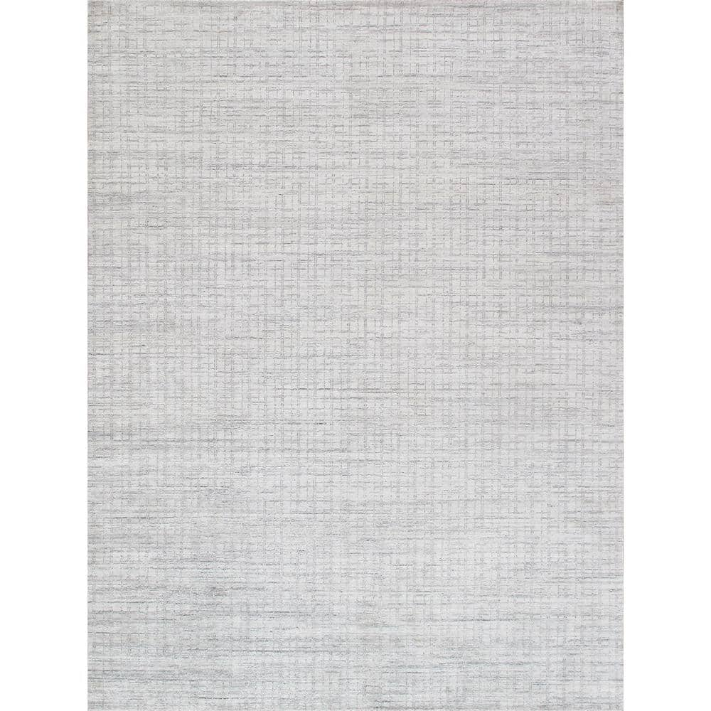 Pasargad Home Slate Ivory Silver 6 Ft X 9 Ft Abstract Bamboo Silk Wool Area Rug Pbfe 04 6x9 The Home Depot