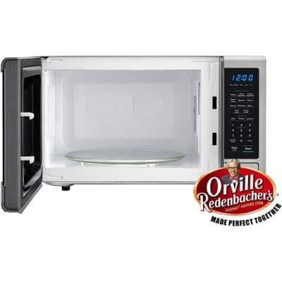 Carousel 1.1 cu. ft. Countertop Microwave in Stainless Steel with Orville Redenbacher's Popcorn Preset