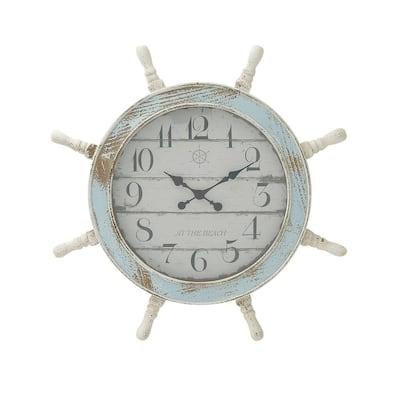 Blue Wood Coastal Wall Clock
