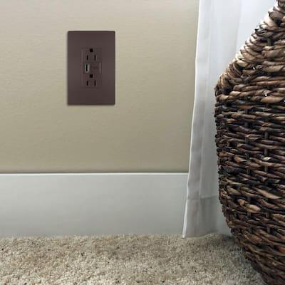 radiant 15 Amp 125-Volt Duplex Outlet with 6.0 Amp Type A/C USB, Dark Bronze