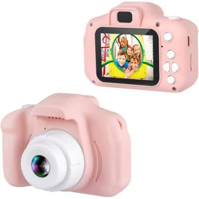 Kids Digital Camera 1080p Color Display Micro SD Slot (32GB SD Card Included) Perfect Gift for Children (Pink)