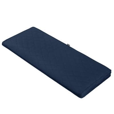 Montlake FadeSafe 42 in. W x 18 in. D x 3 in. Thick Navy Rectangular Outdoor Quilted Bench Cushion