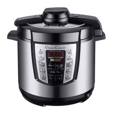 4-in-1 Multi-Function 6 Qt. Silver Electric Pressure Cooker