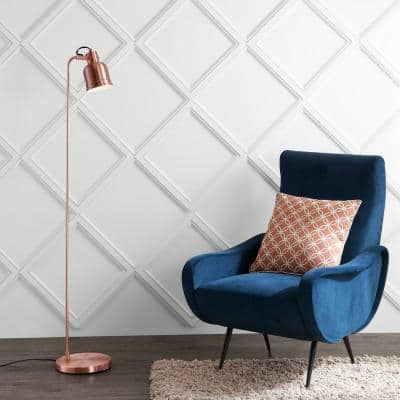 Brandon 57 in. Copper Metal Task LED Floor Lamp