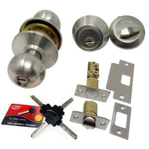 High Security Stainless Steel Combo Lock Set with Keyed-Alike Door Knob and Deadbolt