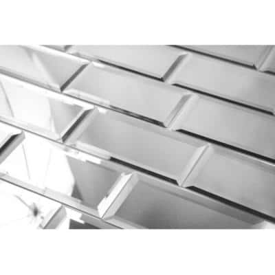 Reflections Silver Beveled 3 in. x 6 in. Peel & Stick Glass Mirror Décor Subway Tile (11 sq. ft. / case)