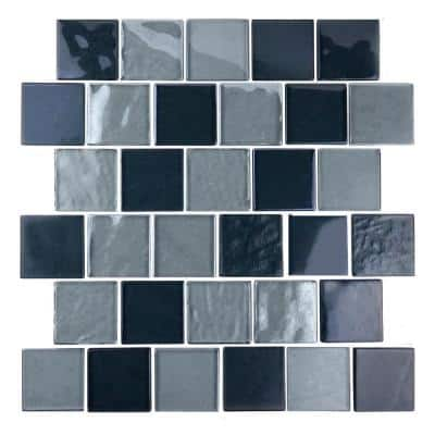 Landscape Gobi Gray Square Mosaic 2 in. x 2 in. Textured Glossy Glass Wall Pool Tile (1.04 Sq. ft.)