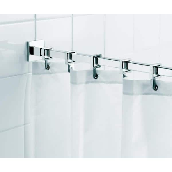 square 98 4 in l luxury shower curtain rod with curtain hooks in chrome