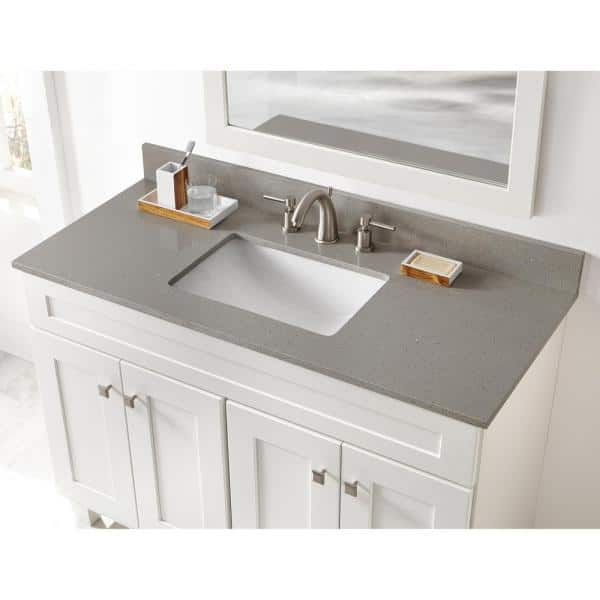 Home Decorators Collection 49 In W X 22 In D Engineered Quartz Vanity Top In Sterling Grey With White Single Trough Sink 49112 The Home Depot