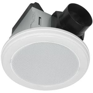 Decorative White 80 CFM Ceiling Mount Bluetooth Stereo Speaker Bathroom Exhaust Fan with LED Light