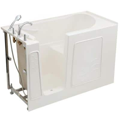 Builder's Choice 53 in. Left Drain Quick Fill Walk-In Soaking Bath Tub in White