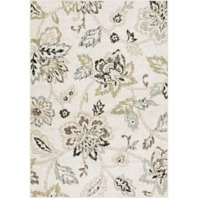 Maya Green Floral 8 ft. x 10 ft. Area Rug