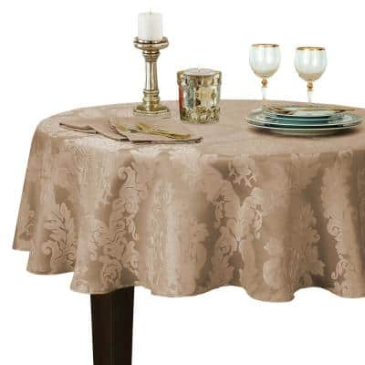 90 in. Round Beige Barcelona Damask Fabric Tablecloth