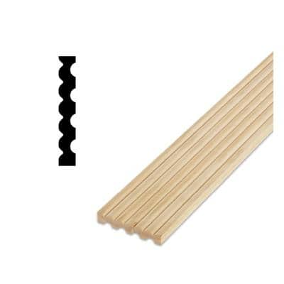 DM 7 - 1/2 in. x 3-1/8 in. x 84 in.Solid Pine Miterless Fluted Casing Moulding With Rosettes and Plinth Corner Blocks