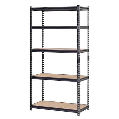 Black 5-Tier Heavy Duty Steel Garage Storage Shelving (36 in. W x 72 in. H x 18 in. D)
