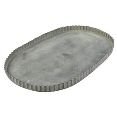 Gray Small Metal Oval Decorative Tray