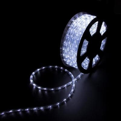 Outdoor 100 ft. 110-Volt Plug-In Cool White LED Color Changing Lights Rope Light