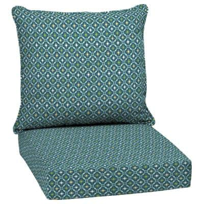 24 in. x 24 in. 2-Piece Deep Seating Outdoor Lounge Chair Cushion in Sapphire Alana Tile