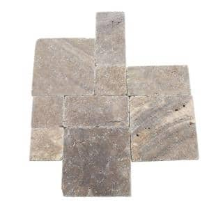 Travertine Andes Gray Paredon Pattern Floor and Wall Tile Kit (6 sq. ft. / case)