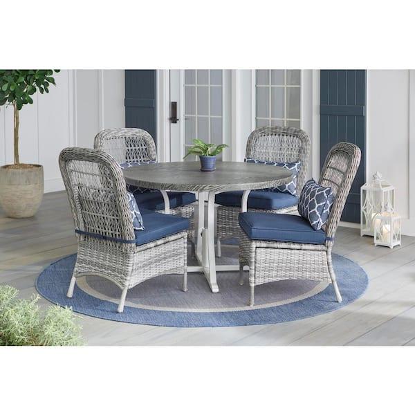 Hampton Bay Beacon Park 5 Piece Gray, Gray Wicker Patio Furniture