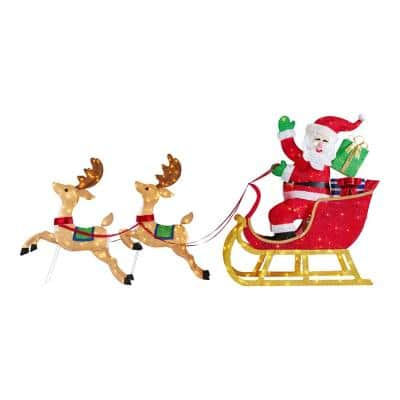 8.5 ft Yuletide Lane Giant-Sized LED Santa's Sleigh with Two Reindeers Yard Sculpture
