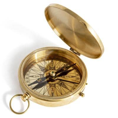 Clear Pocket Compass in Gold/Highly Polished