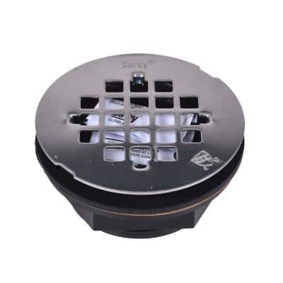 Round No-Caulk Black ABS Shower Drain with 4-1/4 in. Round Snap-In Stainless Steel Drain Cover