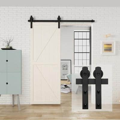 5 ft./60 in. Black Sliding Barn Door Track and Hardware Kit with I-Shape Hanger For Single Door