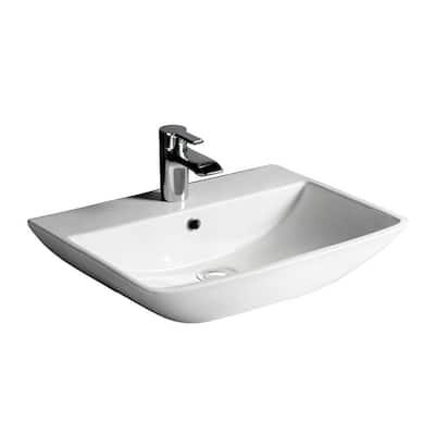 Summit 500 Wall-Hung Bathroom Sink in White