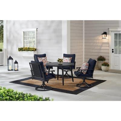 Braxton Park 5-Piece Black Steel Outdoor Patio Dining Set with CushionGuard Midnight Navy Blue Cushions