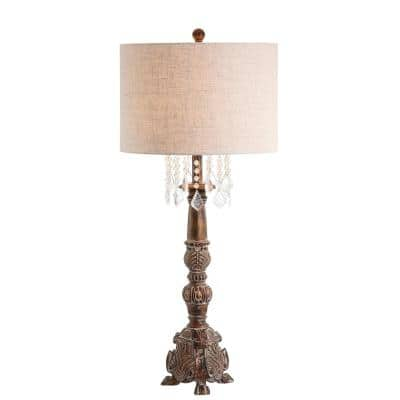 Carlisle 33.5 in. Antique Brown Resin/Acrylic LED Table Lamp