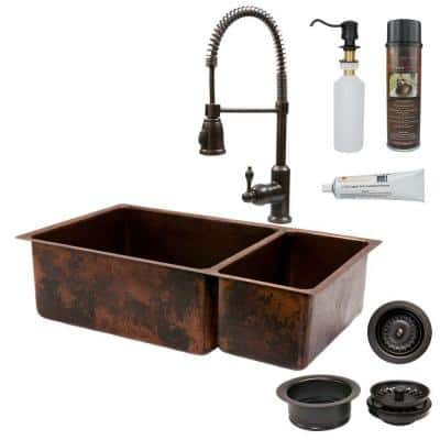 All-in-One Dual Mount Copper 33 in. 0-Hole 75/25 Double Basin Kitchen Sink in Oil Rubbed Bronze