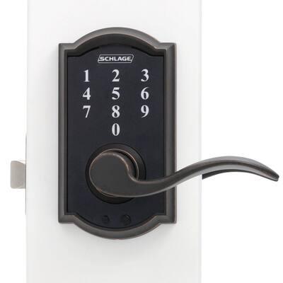 Camelot Aged Bronze Electronic Door Lock with Accent Door Lever