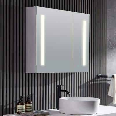 Ether 32 in. W x 28 in. H Recessed or Surface Mount Medicine Cabinet in Silver with LED Lighting and Mirror Defogger
