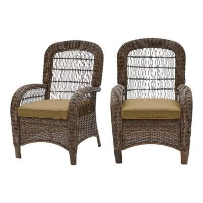 Beacon Park Brown Wicker Outdoor Patio Captain Dining Chair with CushionGuard Toffee Tan Cushions (2-Pack)
