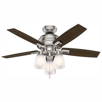 Donegan 44 in. LED 3-Light Indoor Brushed Nickel Ceiling Fan