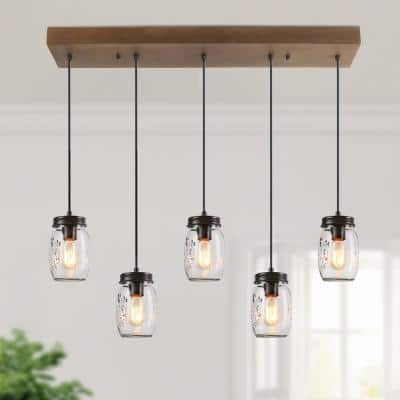Modern DIY Black Large Wood Island Chandelier 5-Light Clear Glass Mason Jar Linear Pendant Light with Brown Finish
