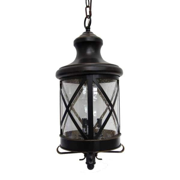 Taysom 3 Light Oil Rubbed Bronze Outdoor Hanging Lantern El543or Mh The Home Depot