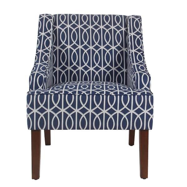 Homepop Printed Blue Trellis Bella, Chair And Trellis