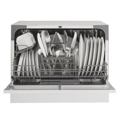 24 in. White Electro-Mechanical CounterTop Control 120-volt Dishwasher with 6-Cycles, 6 Place Settings Capacity