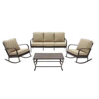 Becker 4-Piece Dark Mocha Steel Outdoor Patio Seating Set with CushionGuard Toffee Trellis Tan Cushions