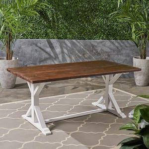 Cassia Dark Brown Rectangular Wood Outdoor Dining Table