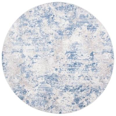 Amelia Gray/Blue 9 ft. x 9 ft. Round Area Rug
