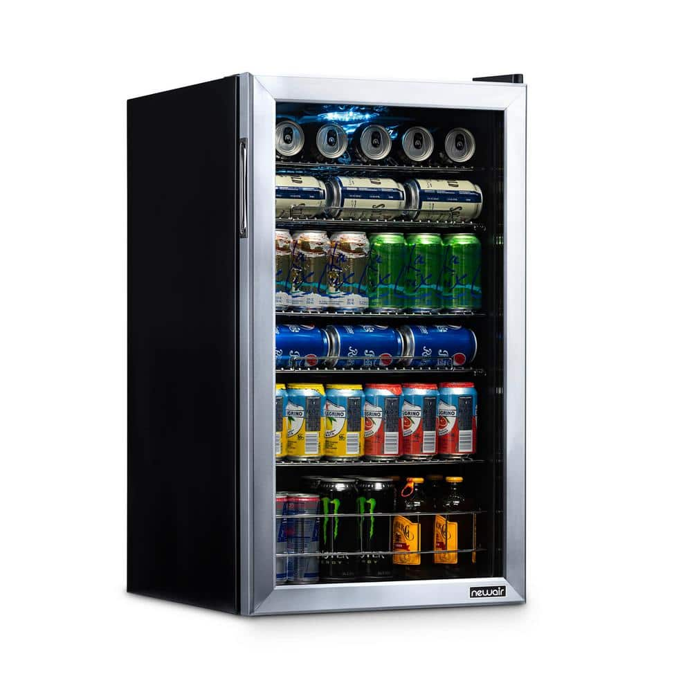 NewAir 19 in. 126 (12 oz) Can Freestanding Beverage Cooler Fridge with Adjustable Shelves - Stainless Steel-AB-1200 - The Home Depot