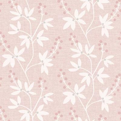 Currant Pink Botanical Trail Pink Wallpaper Sample