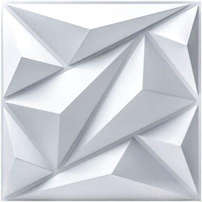 Decorative Diamond Shape 19.7 in. x 19.7 in. PVC Seamless 3D Wall Panel in White 12-Panels