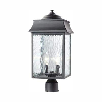 Scroll 2-Light Black Outdoor Post Mount Light with Water Glass
