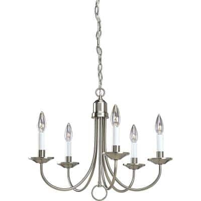 Five-Light Brushed Nickel White Candles Traditional Chandelier Light
