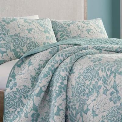 Laguna Beach Green Floral Cotton Quilt Set