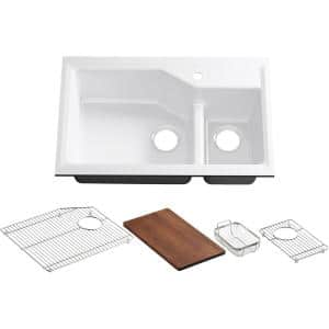 Indio Smart Divide Undermount Cast Iron 33 in. 1-Hole Double Bowl Kitchen Sink Kit in White